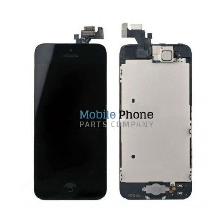 Apple iPhone 5 LCD + Digitiser Black Complete With Parts - Front Camera / Earpiece / Home Button